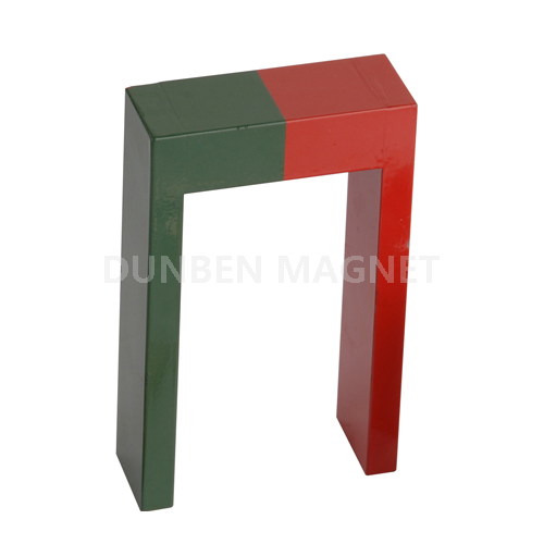 Red Green painted Alnico Educational Magnets , U Shape Cast AlNiCo Magnets