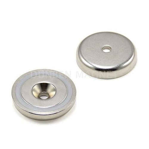 Neodymium Mounting Round Base Shallow Pot Magnet with a countersunk hole,Powerful neodymium cup magnet