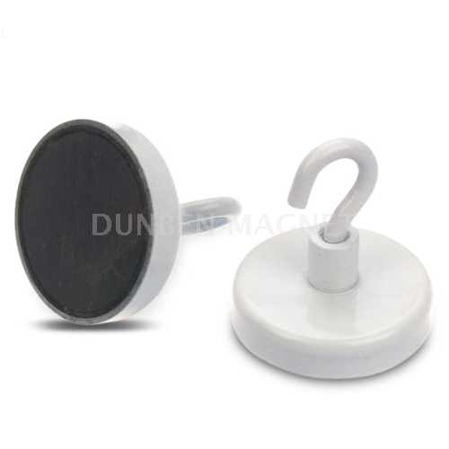 White Paint Ferrite Hook Magnet, Hard Ferrite (Ceramic) Hook Magnet with White Paint, Ceramic Magnetic Hook, Ferrite Pot Magnet with White Hook