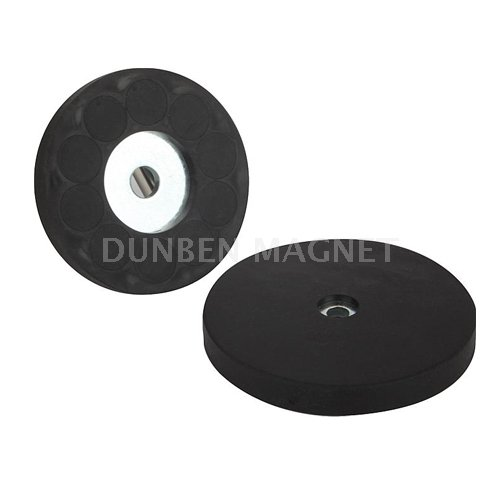 Rubber Coated Magnetic Systems with Countersunk Holes , Rubber Coated Neodymium Magnet Assembly with counterbore, Rubber Coated Magnet Cup Assemblies, magnetic holding Pot magnet