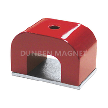 Red Painted Cast Alnico 5 Horseshoe Magnet, 500°C maximium Powful Alnico Pocket Magnets With Keeper